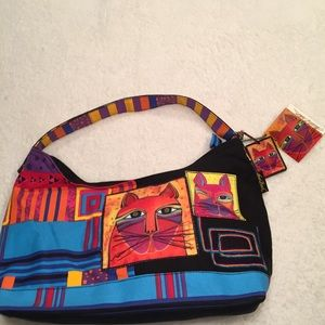 """LAUREL BURCH  NWT CANVAS HOBO  """"WHISKERED CATS"""""""